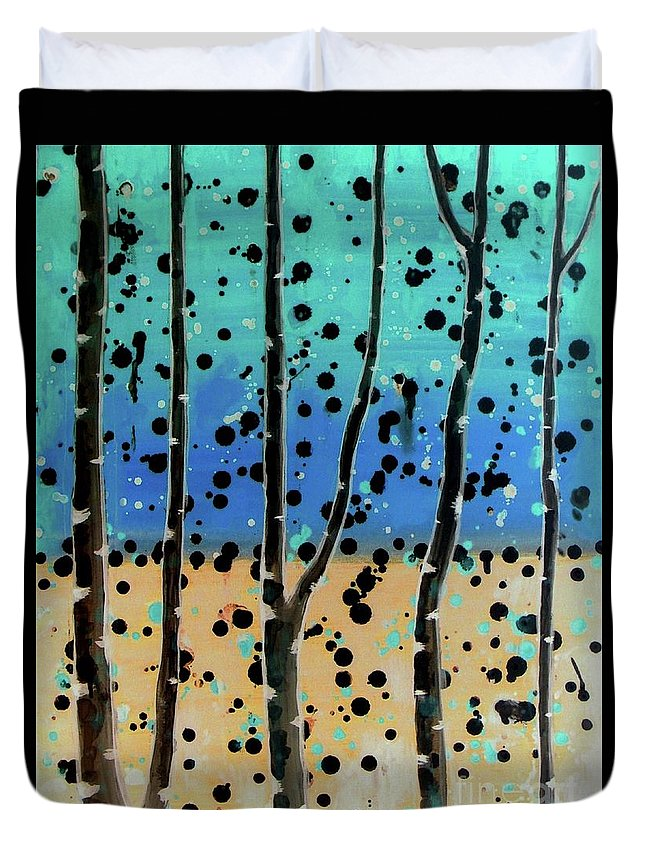 Abstract Duvet Cover featuring the painting Celebration - Abstract Landscape by Vesna Antic