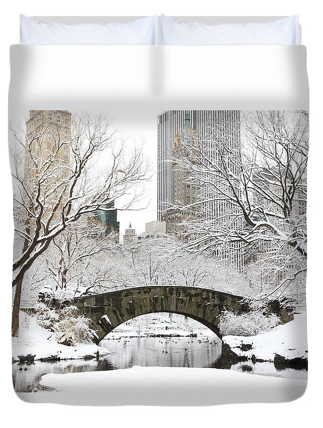 Snow Duvet Cover featuring the photograph Central Park, New York by Veni