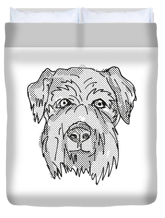 Retro Duvet Cover featuring the digital art Cesky Terrier Dog Breed Cartoon Retro Drawing by Aloysius Patrimonio