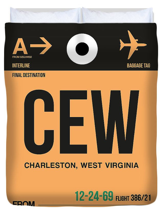 Vacation Duvet Cover featuring the digital art Cew Charleston Luggage Tag II by Naxart Studio