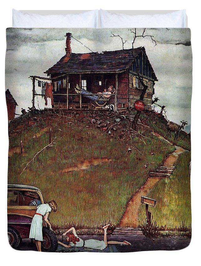 Automobiles Duvet Cover featuring the drawing Changing A Flat by Norman Rockwell