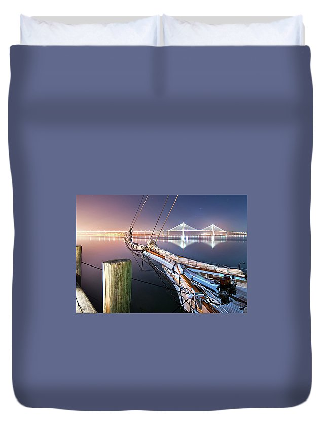 Tranquility Duvet Cover featuring the photograph Charleston Harbor by Sky Noir Photography By Bill Dickinson