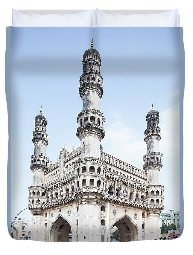 Arch Duvet Cover featuring the photograph Charminar Monument In Hyderabad by Jasper James