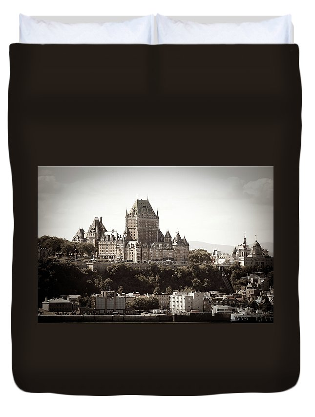 Copper Duvet Cover featuring the photograph Chateau Frontenac From Levis, Quebec by Onfokus