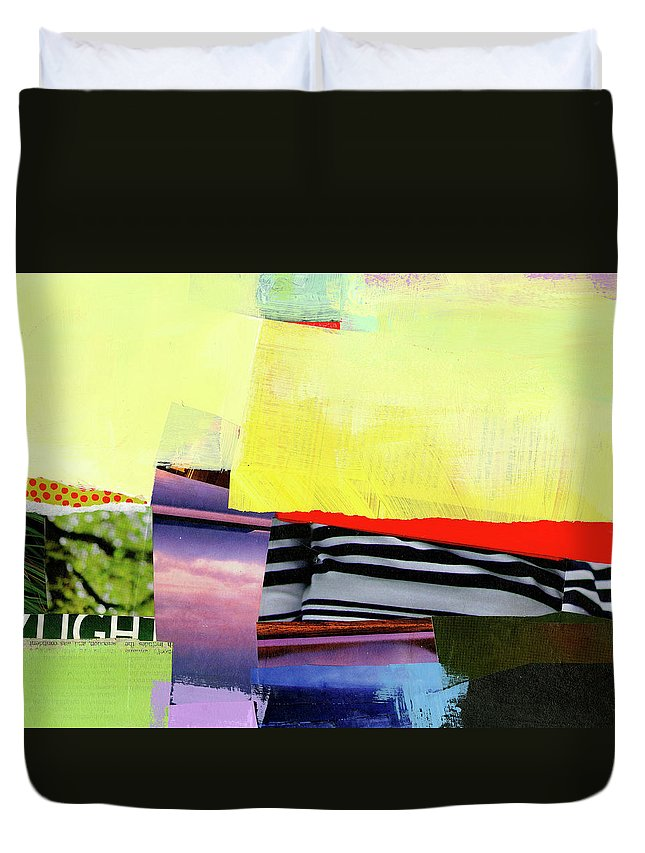 Abstract Art Duvet Cover featuring the painting Checkered Past by Jane Davies