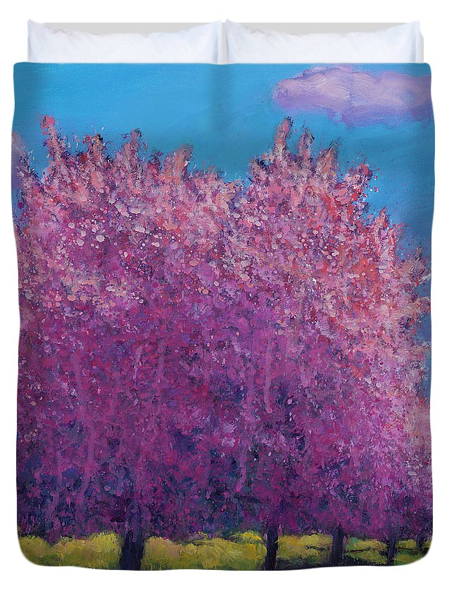 Contemporary Landscape Duvet Cover featuring the painting Cherry Blossom Day by Johnathan Harris