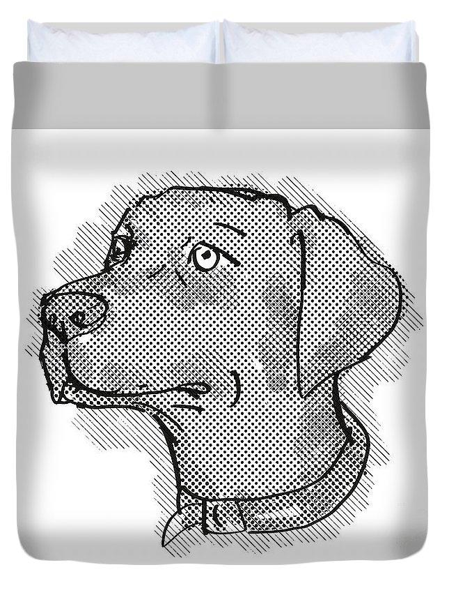 Retro Duvet Cover featuring the digital art Chesapeake Bay Retriever Dog Breed Cartoon Retro Drawing by Aloysius Patrimonio