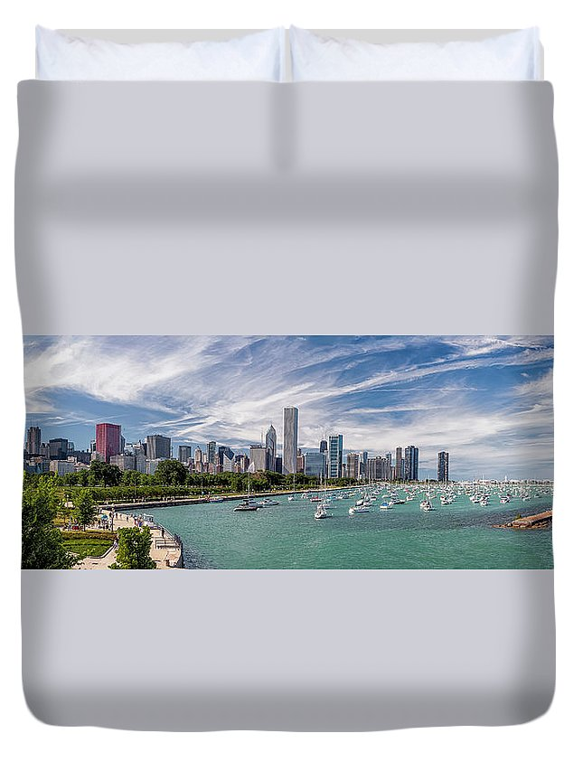 3scape Duvet Cover featuring the photograph Chicago Skyline Daytime Panoramic by Adam Romanowicz