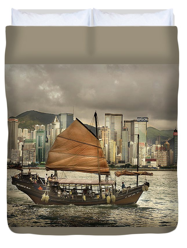 Sailboat Duvet Cover featuring the photograph China, Hong Kong, Junk Boat In Bay by Maremagnum