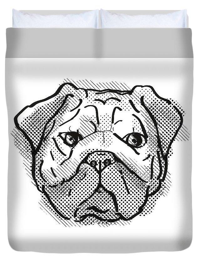 Retro Duvet Cover featuring the digital art Chinese Pug Dog Breed Cartoon Retro Drawing by Aloysius Patrimonio
