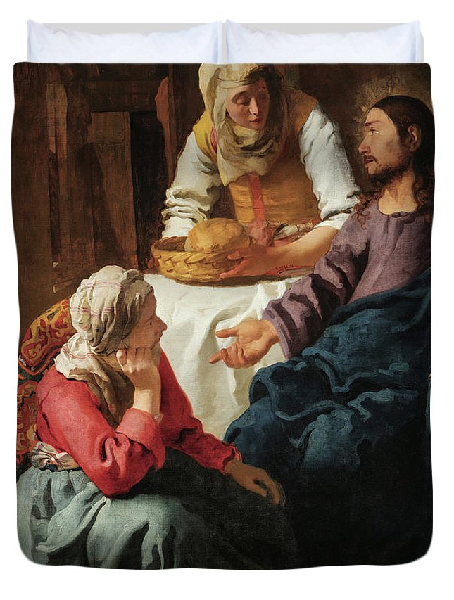 Johannes Vermeer Duvet Cover featuring the painting Christ In The House Of Martha And Mary, 1656 by Johannes Vermeer