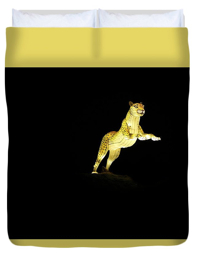 Big Cat Duvet Cover featuring the photograph Christmas At The Living Desert Zoo - Cheetah Pounce by Colleen Cornelius
