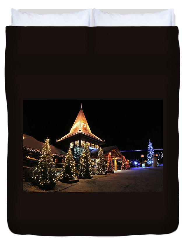 Holiday Duvet Cover featuring the photograph Christmas Decorated Town by Csondy