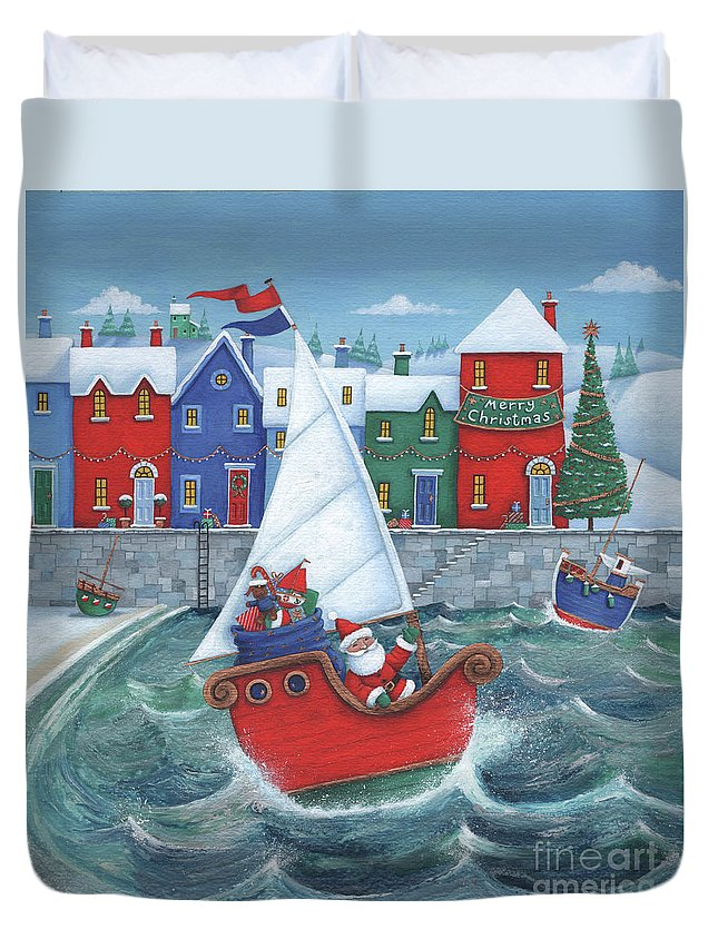 Harbour Duvet Cover featuring the digital art Christmas Harbour Scene by MGL Meiklejohn Graphics Licensing