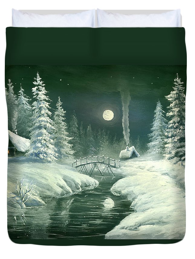 Art Duvet Cover featuring the digital art Christmas Night In The Country by Pobytov