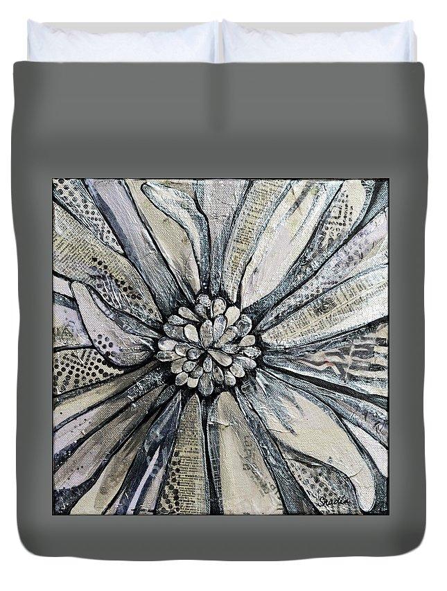 Chrysanthemum Duvet Cover featuring the painting Chrysanthemum by Shadia Derbyshire