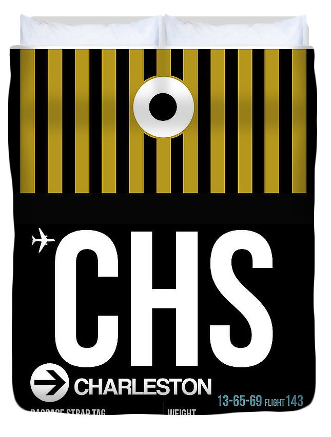 Vacation Duvet Cover featuring the digital art Chs Charleston Luggage Tag I by Naxart Studio