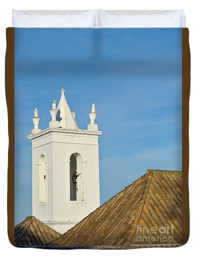 Overview Duvet Cover featuring the photograph Church Bell Tower Behind Tiled Roofs In Tavira by Angelo DeVal
