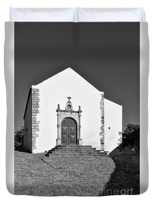 Castro Marim Duvet Cover featuring the photograph Church Of Misericordia In Monochrome by Angelo DeVal