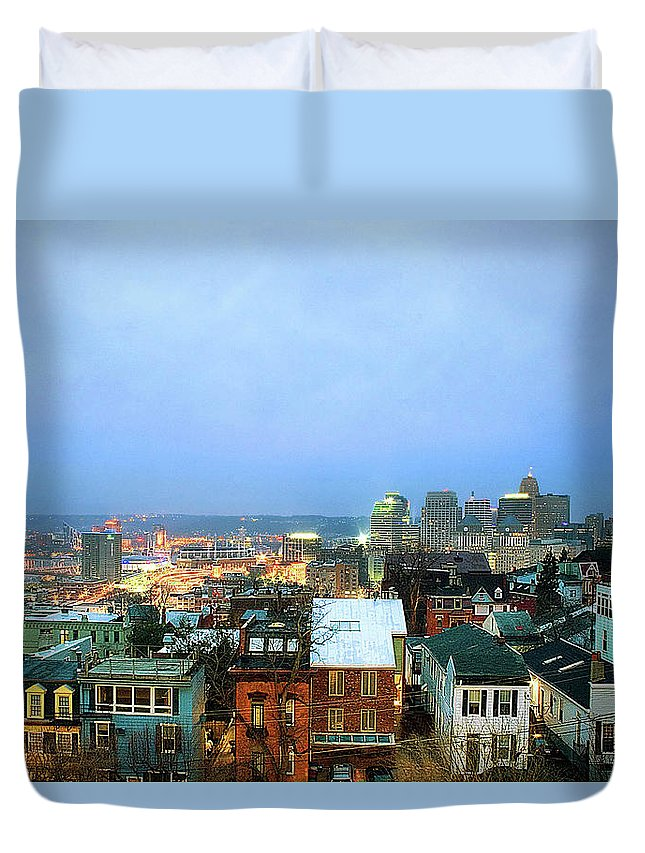 Tranquility Duvet Cover featuring the photograph Cincinnati Skyline by Keith R. Allen