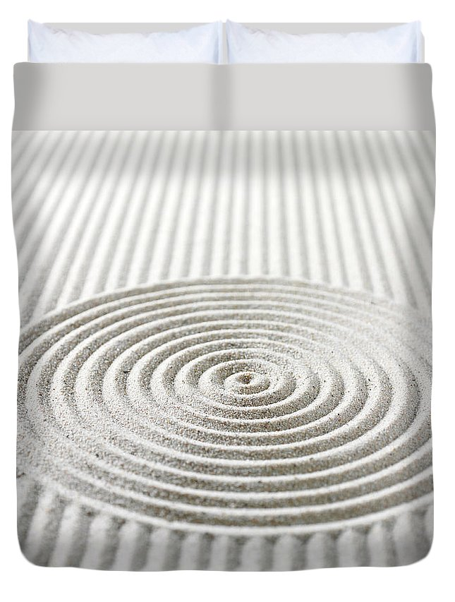 In A Row Duvet Cover featuring the photograph Circles And Lines In Sand by Wragg