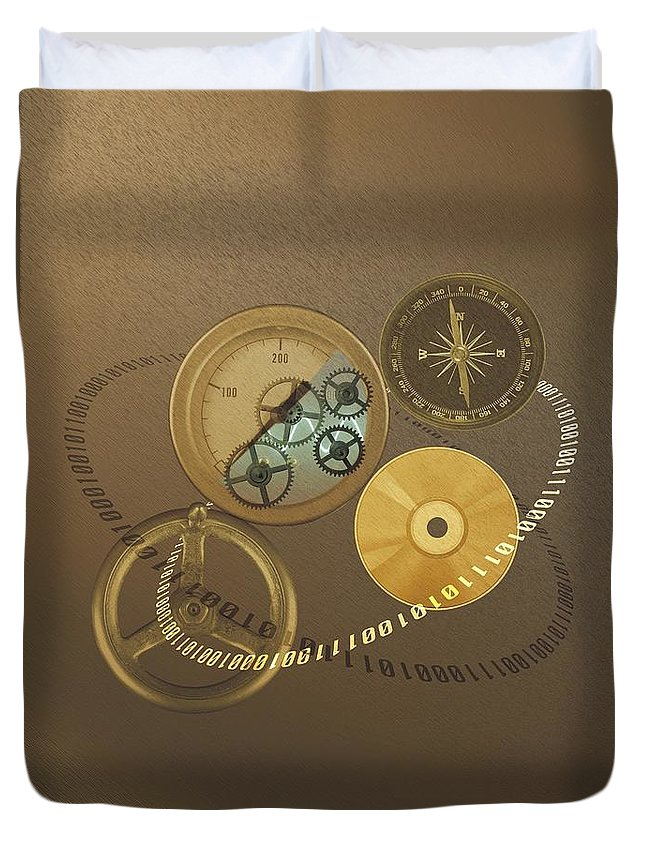 The Media Duvet Cover featuring the photograph Circular Objects And Binary Code, Cg by Daj