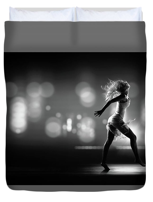 Girl Duvet Cover featuring the photograph City Girl by Johan Swanepoel