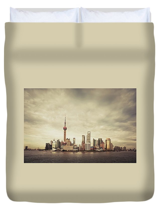 Communications Tower Duvet Cover featuring the photograph City Skyline At Sunset, Shanghai, China by D3sign