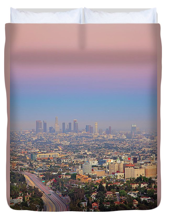 California Duvet Cover featuring the photograph Cityscape Of Los Angeles by Eric Lo