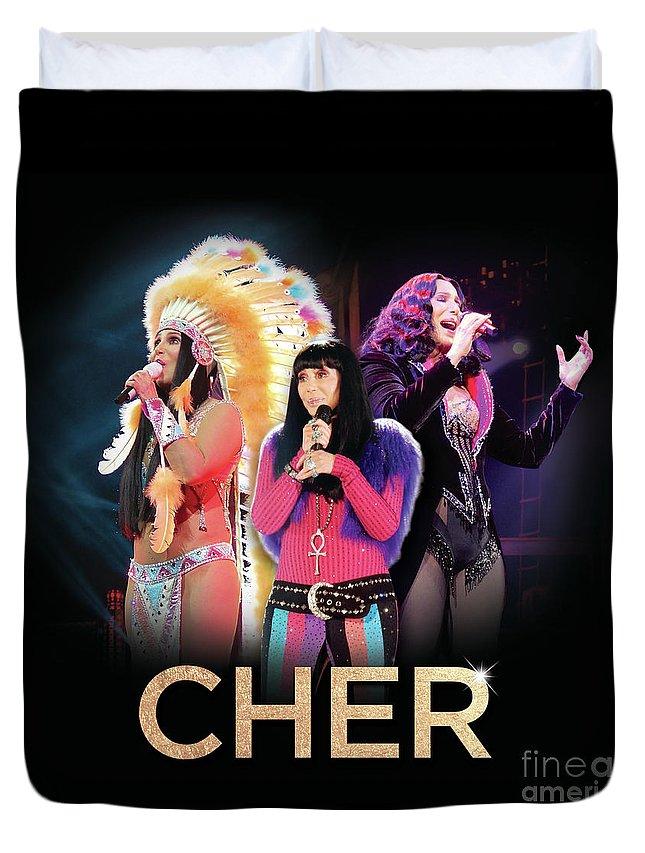Cher Duvet Cover featuring the digital art Classic Cher Trio by Gabrielle D