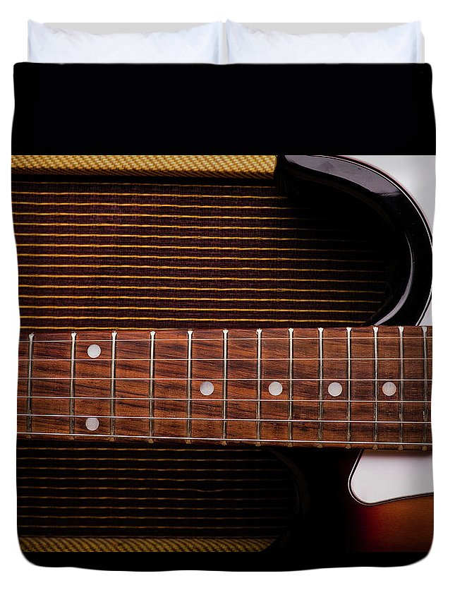 Rock Music Duvet Cover featuring the photograph Classic Electric Guitar And Amp Still by Halbergman