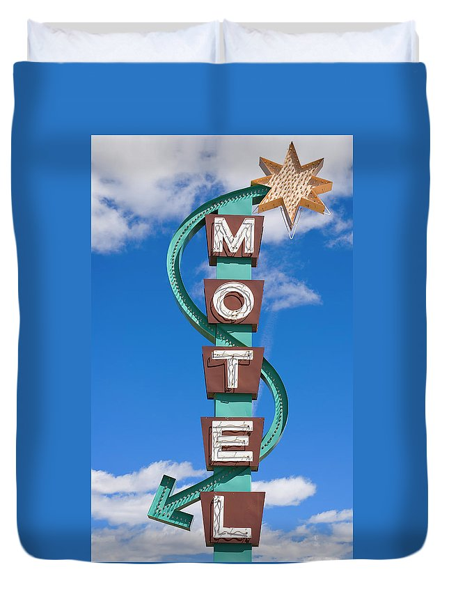 In A Row Duvet Cover featuring the photograph Classic Motel Sign by Elementalimaging