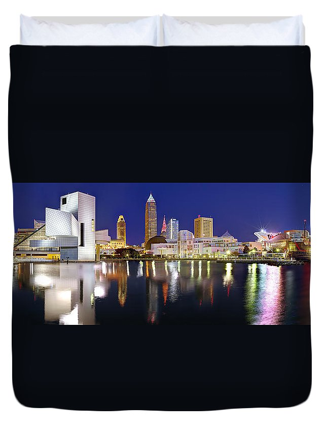 Cleveland Skyline Duvet Cover featuring the photograph Cleveland Skyline at Dusk Rock Roll Hall Fame by Jon Holiday