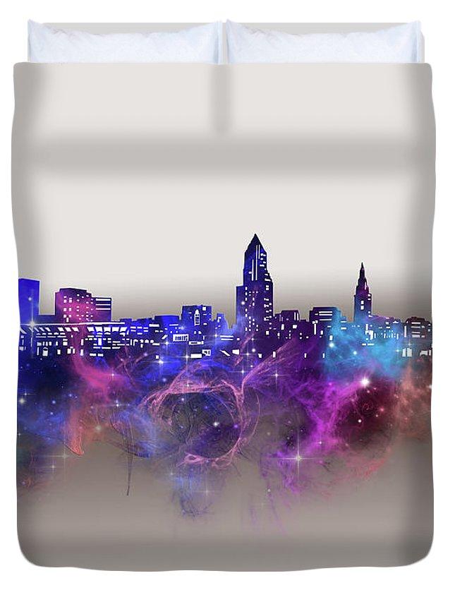 Cleveland Duvet Cover featuring the digital art Cleveland Skyline Galaxy by Bekim M