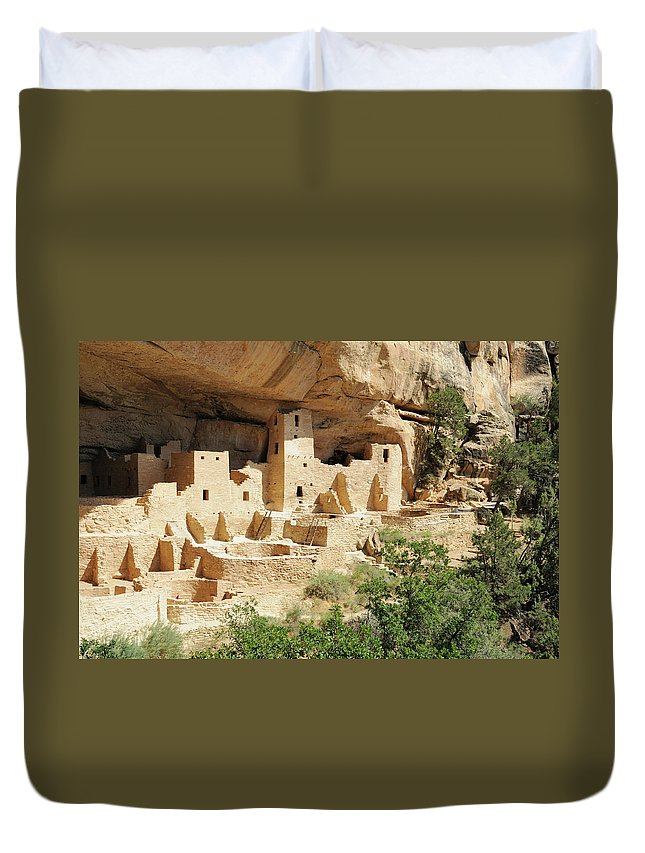 Mesa Verde National Park Duvet Cover featuring the photograph Cliff Palace In Mesa Verde, Colorado by Sshepard