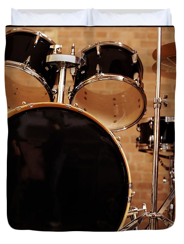 Microphone Stand Duvet Cover featuring the photograph Close-up Of A Drum Kit by Digital Vision.