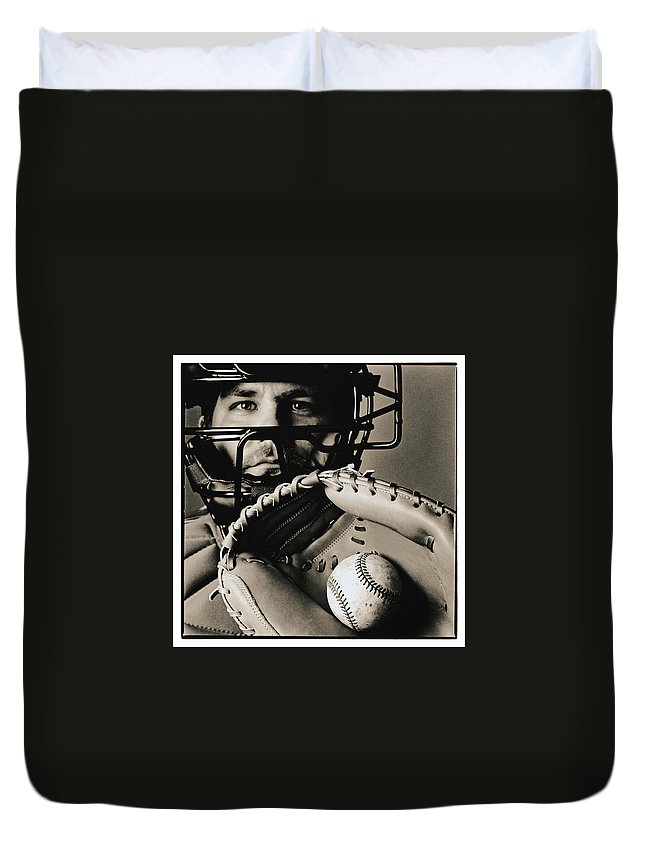 Baseball Catcher Duvet Cover featuring the photograph Close-up Of Catcher by Anthony Saint James
