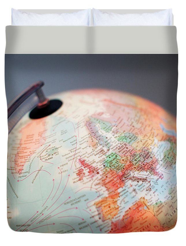 Globe Duvet Cover featuring the photograph Close-up Of Globe by Kindler, Andreas