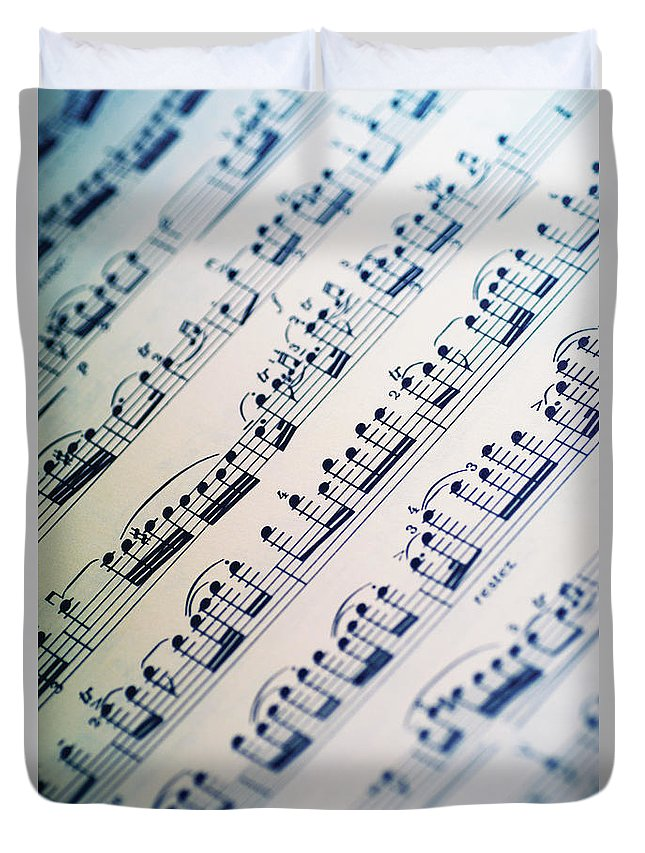 Sheet Music Duvet Cover featuring the photograph Close-up Of Sheet Music by Medioimages/photodisc