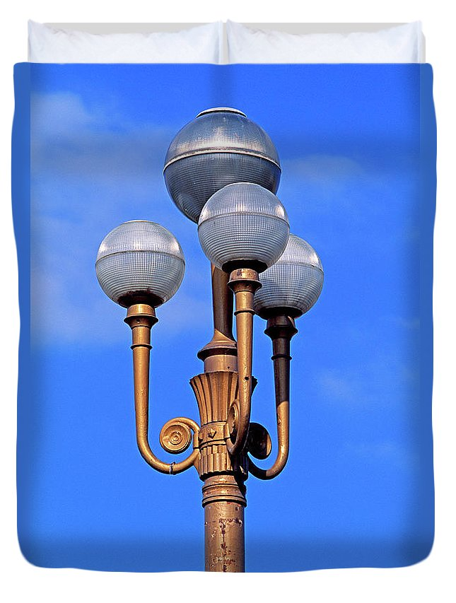 French Riviera Duvet Cover featuring the photograph Closeup Of A Lamp by Murat Taner