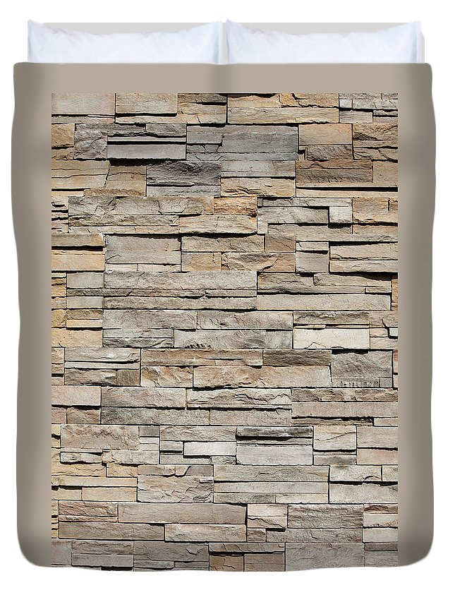 Rectangle Duvet Cover featuring the photograph Closeup Of A Sandstone Brick Side Of by Carterdayne