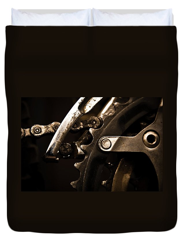 Unhealthy Eating Duvet Cover featuring the photograph Closeup Of Front Derailleur by Halbergman