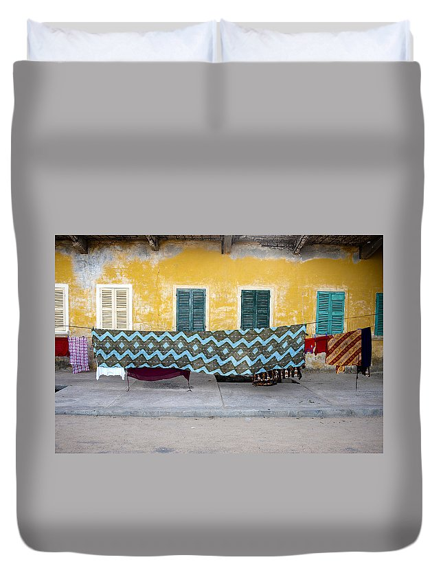 Hanging Duvet Cover featuring the photograph Clothes Hanging by Roripalazzo.com