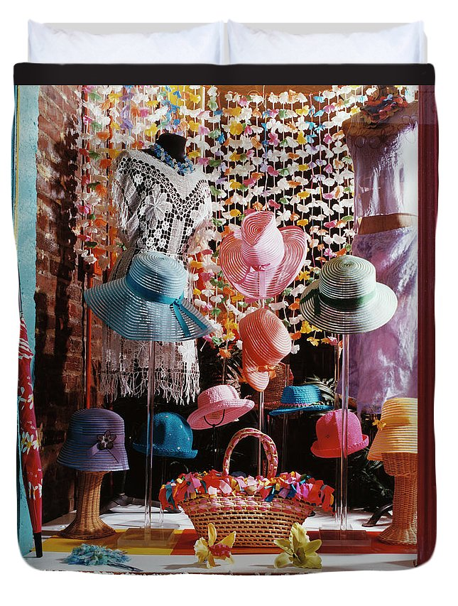 Straw Hat Duvet Cover featuring the photograph Clothing Store Window Display by Silvia Otte