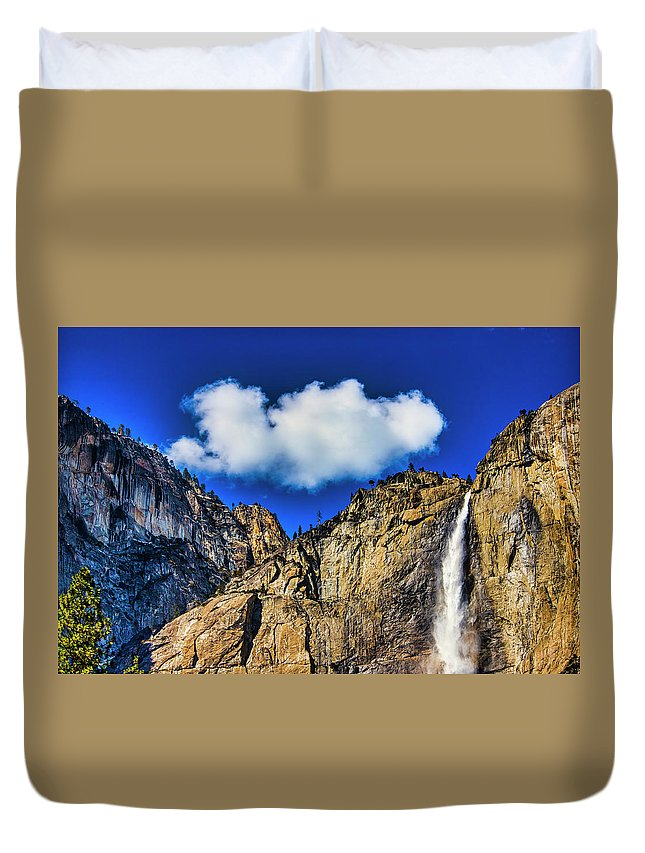 Upper Duvet Cover featuring the photograph Clouds Abover Upper Yosemite Fall by Garry Gay