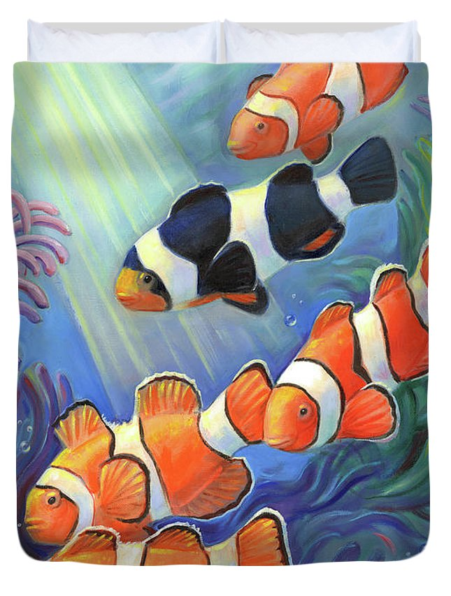 Clownfish Duvet Cover featuring the painting Clownfish Paradise by Svitozar Nenyuk