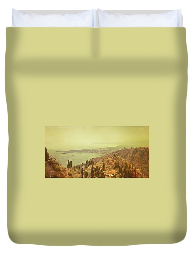 Panoramic Duvet Cover featuring the photograph Coastline Of Taormina And Giardini Naxos by Tjarko Evenboer / The Netherlands
