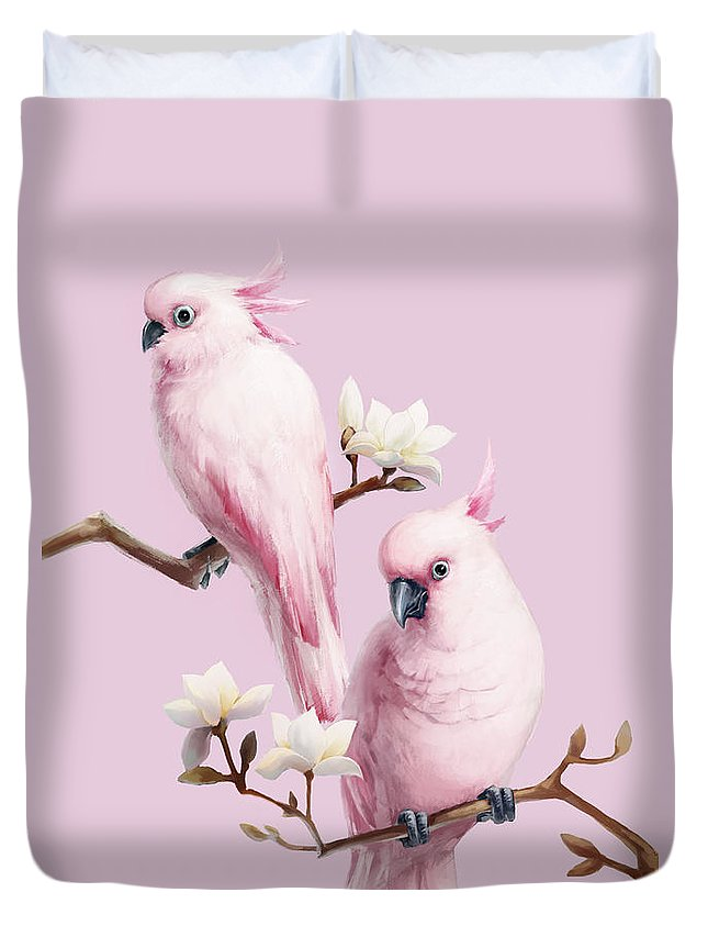 Chinese Culture Duvet Cover featuring the digital art Cockatoos And Magnolia by Bji/blue Jean Images