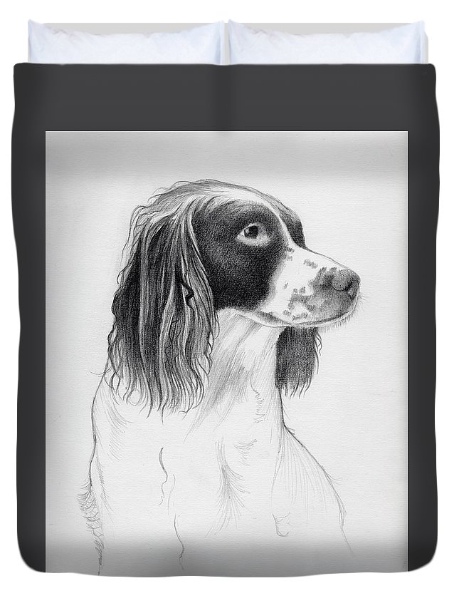Coco Duvet Cover featuring the drawing Coco by Ashley Jennings