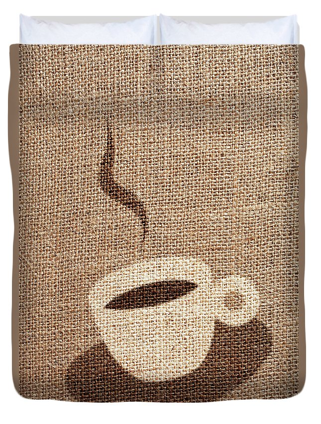 Fiber Duvet Cover featuring the photograph Coffee Cup by Malerapaso